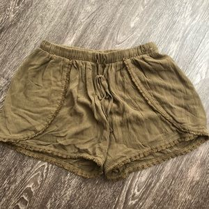 Pom Pom shorts olive elastic waist cozy mossimo